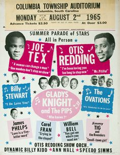 August 2, 1965 Concert Poster — Joe Tex, Otis Redding & more. Less than two years later Redding would die tragically in a plane crash.