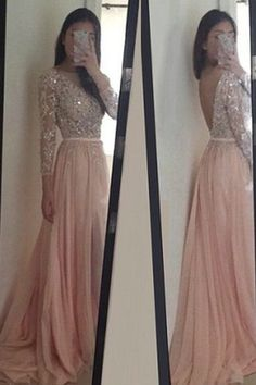 Elegant Prom Dress,Blush Pink Chiffon Long Prom Dress with Full Sleeve,Backless…