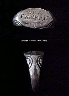 ROMAN LEGIONARY RING OF THE II TRAIANA FORTIS (TRAJAN'S STRONG) ENGRAVED WITH VIVA TRAIANA FS AND PALM 2nd Century AD