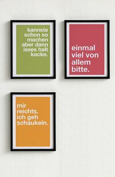 Mini-Poster-Set.+3+Poster+Typo+nach+Wahl+von+PAP-SELIGKEITEN+–+Schönes+auf+Papier+auf+DaWanda.com Words Quotes, Art Quotes, Funny Quotes, Inspirational Quotes, Event Poster Design, Diy Poster, Quotation Marks, Layout Inspiration, Design Quotes
