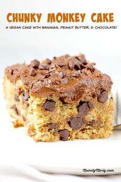 This Chunky Monkey Cake is made with bananas, peanut butter, chocolate and a whole lot of goodness. It's also dairy-free and delicious all the way!
