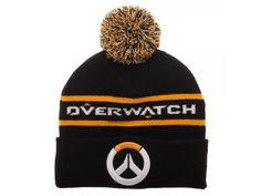 ee60395801baf Overwatch Pom Beanie Winter Hat Cap Black Blizzard Game Logo Over Watch Knit