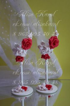 Champagne wedding glasses with red and ivory roses by AlisaKarol, $65.00