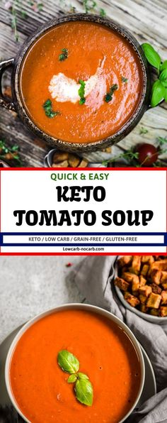 Roast Tomato Soup Recipe, Roasted Tomato Basil Soup, Tomato Soup Recipes, Roasted Tomatoes, Low Carb Soup Recipes, Best Soup Recipes, Chowder Recipes, Keto Recipes, Keto Foods