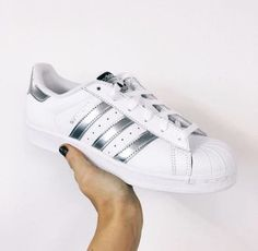 half off 69d24 e2de4 Adidas Superstar Leather White Silver Shell Toe Trainers
