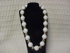 large white bead and gold tone necklace 19 inch with by designer2, $18.00