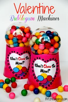 DIY Bubblegum Valentines.... great project for those leftover or discounted clear ornaments from christmas!!!!   Free printable included!
