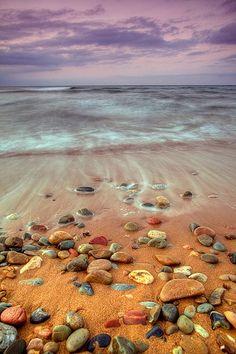 Rocky beach shore, purple clouds...pure pleasure.