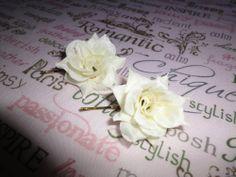 Two Ivory Cream Vintage Rose Flower Hair Clip Slides