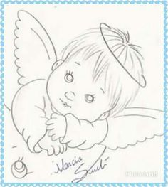 Baby Painting, Tole Painting, Fabric Painting, Angel Drawing, Baby Drawing, Coloring Books, Coloring Pages, Free Adult Coloring, Baby Clip Art