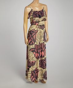 Look at this Coral Abstract Tiered Scoop Neck Maxi Dress on #zulily today!