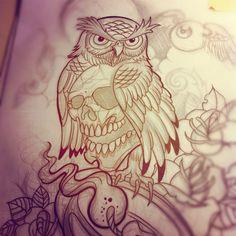 Willemxsm - Lines #owl #lantern #rose #tattoo (Taken with...