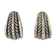 David Yurman Thoroughbred Sterling Silver Diamond Cable Earrings