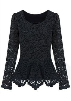 Black Long Sleeve Ruffles Embroidery Lace T-Shirt - Sheinside.com