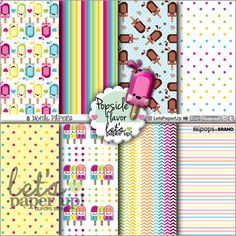 Digital paper, Popsicle, Instant Download, Scrapbook supplies, Printable, Popsicle Background, Kawaii, Popsicle Kawaii, Paper, Popsicle DIY
