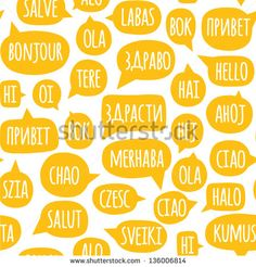 Seamless pattern with speech bubbles with the word hello in different languages. Welcome background. Doodle speech bubble pattern. Friendship design for your skin device or website