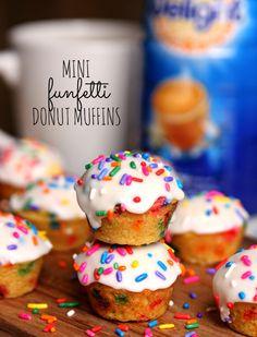 Mini Funfetti Donut Muffins with homemade Mocha Tuxedo Coffee #recipe #yum #SplashofDelight #ad @walmart @indelight