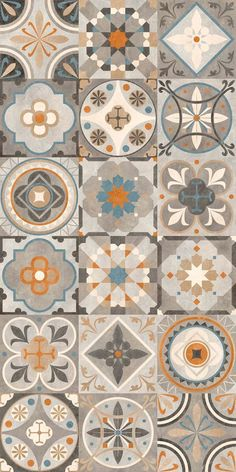 Decorating your floor with ceramics can add a much-needed pop of color to your home. Ceramic tiles and quite affordable and give your home an elegant and unique touch without drowning out other are… Floor Patterns, Tile Patterns, Textures Patterns, Tile Art, Wall Tiles, Cement Tiles, Azulejos Diy, Tile Design, Pattern Design