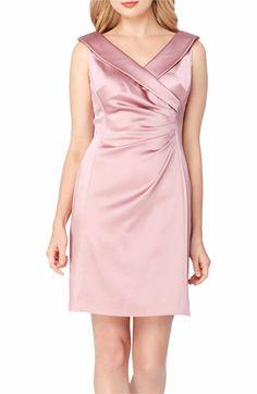 Main Image - Tahari Satin Sheath Dress (Regular & Petite)