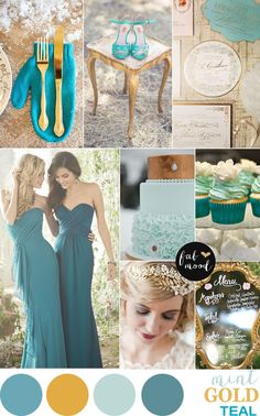 Deciding to have an elegant wedding theme is a must for many brides,combining gold + mint and teal wedding colour scheme to create the perfect wedding palette Teal Gold Wedding, Mint Gold Weddings, Teal And Gold, Turquoise Weddings, Orange Weddings, Dark Teal, Blue, Elegant Wedding Themes, Elegant Bride