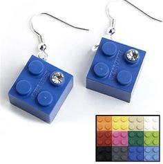Recycled toy building block square earrings