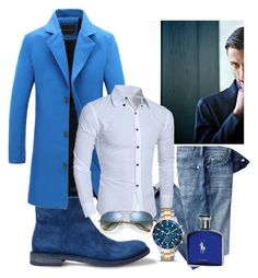 """""""Blue coat"""" by mercija on Polyvore featuring 7 For All Mankind, FOSSIL, Ray-Ban, Ralph Lauren, men's fashion i menswear"""
