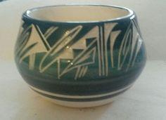 Vintage Navejo Pottery Signed Jones Beautiful Textured Blues & White