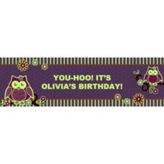 Owl Blossom Glow in the Dark Personalized Birthday Banner. Price: $59.99 - 89.99