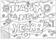 Printabel Coloring Pages Happy New Year 2015 For Kidsfree Print Out Preschoolhappy Clipart