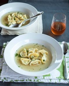 Three-Cheese Tortellini in Parmesan Broth serves 8 For the tortellini: 1 c ricotta cheese  1/2 c grated Parmesan 1/2 c grated asiago 1/4 c chopped parsley 1/4 tsp salt 1/2 batch Homemade Pasta  For the broth: 8 c chicken/vegetable stock 2 Parmesan rinds 4 garlic cloves 1 bay leaf 1 tsp salt, to taste 1/4 c chopped parsley