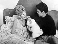 Brigitte Bardot & Jacques Charrier with their son Nicolas, 1960 Bridget Bardot, Serge Gainsbourg, Sean Connery, Robert Hirsch, Birgitte Bardot, Jacques Charrier, Robert Hossein, Surf, Baby Illustration