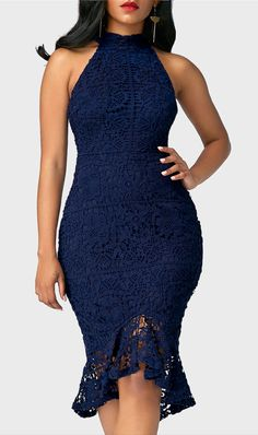 Navy Blue Sleeveless Lace Asymmetric Hem Bodycon Party Dress, here we show you this dress with high quality fabric, bodycon fit, elegant design, you can get it at rosewe.com, check it out.