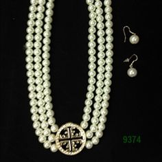 White Pearl with Gold Medallion Necklace and Wire Earrings Set