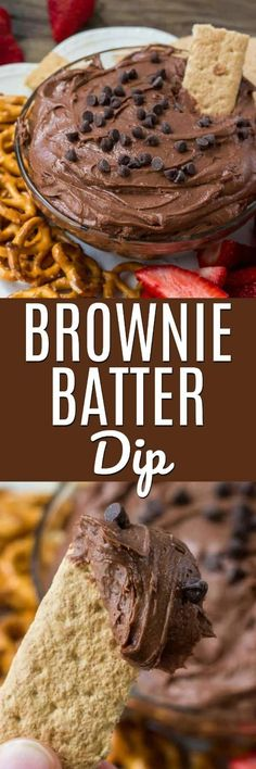 Brownie batter dip is the most decadent, delicious, easy way to eat brownies. It's extra smooth and creamy, super chocolate-y and the perfect treat for parties and get-togethers. #dip #dessertdip #browniebatter #rawbrowniedough #raw #noeggdessert #rawdoug