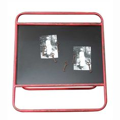 Vintage Free Standing Metal Frame Two-Sided Chalkboard Red 18-1/4-in x 19-1/2-in : Office Products