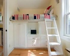 Some interesting small bedroom storage solutions just for you. Use these small bedroom storage ideas to store your stuff. Bedroom Loft, Girls Bedroom, Bedroom Decor, Mezzanine Bedroom, Cozy Bedroom, White Bedroom, Loft Bed Desk, Mezzanine Loft, Dorm Desk