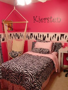 tween re-do, My daughter had lots of pink polka dot in her room but wanted a zebra striped room that wasn't as babyish.  This is what I came up with., Blended zebra and polka dot with bedding.  My daughter wanted her name painted on the wall, Girls' Rooms Design