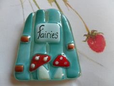 Turquoise fused glass Fairy door with toadstools by morethanmosaic, £6.00