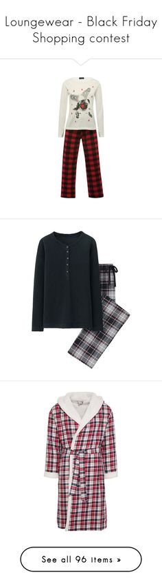"""Loungewear - Black Friday Shopping contest"" by helenehrenhofer ❤ liked on Polyvore featuring intimates, sleepwear, pajamas, cotton pjs, cotton sleepwear, long sleeve sleepwear, christmas pajamas, christmas sleepwear, sleep and flannel pyjamas"