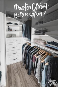Today I& sharing my walk in closet makeover PLUS all the tips I learned from the closet designers to maximize storage in a small walk in closet (or any small closet) - diy-home-decor Small Master Closet, Master Closet Design, Master Bedroom Closet, Walk In Closet, Bedroom Wardrobe, Diy Closets, Small Closets, Home Upgrades, Closet Designs
