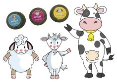 MASCOTAS diseñadas para Quesos BETARA. Quesos de oveja, cabra y vaca para niños.