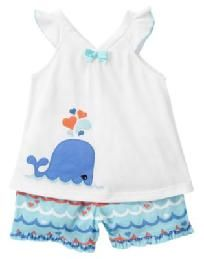 Gymboree Whale Gymmies Pajamas Size 12 - 18 months NWT Free Ship No Slice