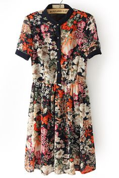 Black Short Sleeve Floral Buttons Pleated Dress