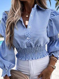 Trend Fashion, Plaid Fashion, Fashion Blouses, Women's Fashion, Chic Type, White Skinnies, Womens Fashion Online, Blouses For Women, Long Sleeve Tops