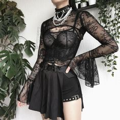 Edgy Outfits, Grunge Outfits, Pretty Outfits, Cool Outfits, Fashion Outfits, Fashion Ideas, Aesthetic Grunge Outfit, Aesthetic Clothes, Aesthetic Hair