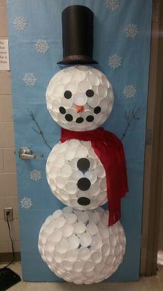 My version of a cup winter/snowman door.
