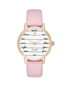kate spade new york  Womens Rose Gold-Tone Metro Pink Leather Watch
