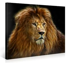 Stretched Canvas Print - RADIANT LION Large Animal Wall Art e4166