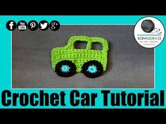 """Cars Auto """"Tony"""" Crochet"""" Free Pattern ! Applique by Maricita Colours in English - YouTube"""