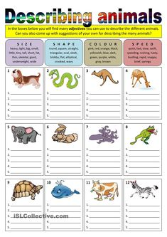 Describing animals (adjectives) - English ESL Worksheets for distance learning and physical classrooms English Worksheets For Kids, English Lessons For Kids, English Games, Kids English, English Activities, English Writing, Teaching English, Learn English, Teaching Spanish